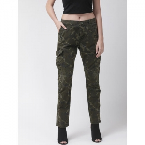 Superdry Women Olive Green Camouflage Print Cargo Trousers