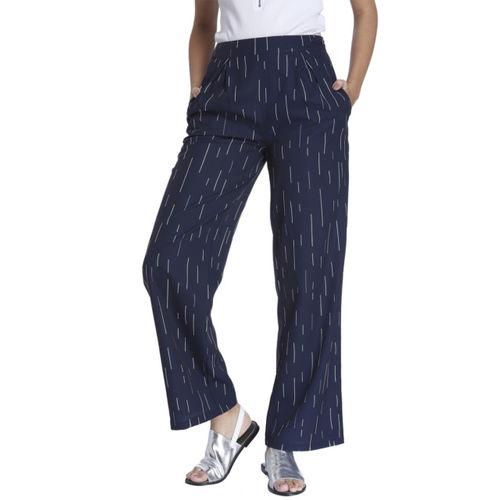 Vero Moda Women Navy Blue & White Striped Parallel Trousers