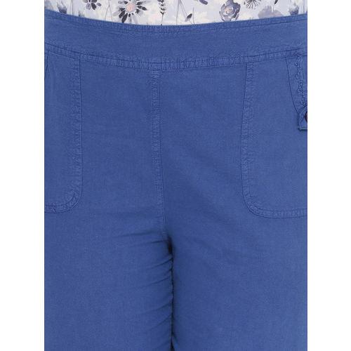 Oxolloxo Women Blue Regular Fit Solid Regular Trousers