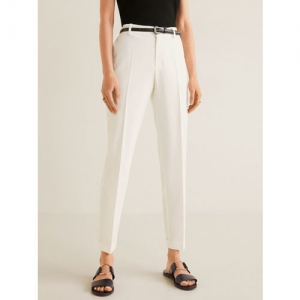 MANGO Women White Regular Fit Solid Formal Trousers With Belt