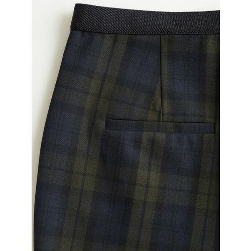 MANGO Women Green & Navy Blue Regular Fit Checked Trousers