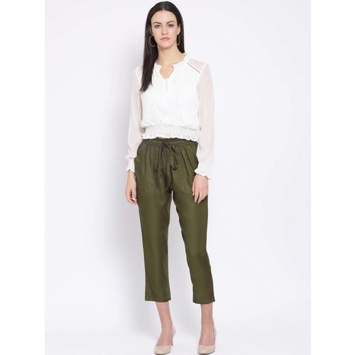 Oxolloxo Women Olive Green Regular Fit Solid Peg Trousers