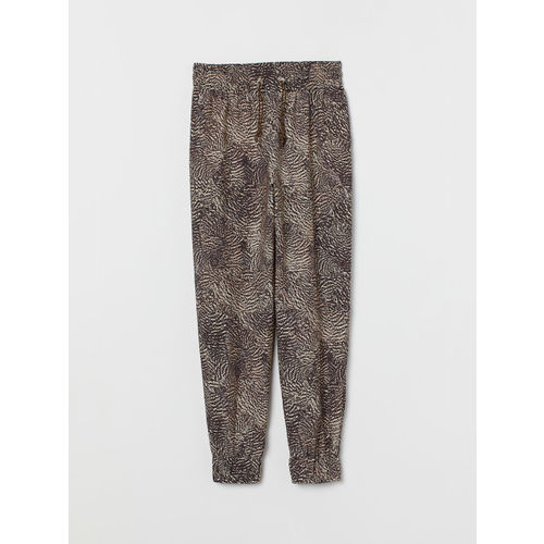 H&M Women Brown Printed Woven Trousers