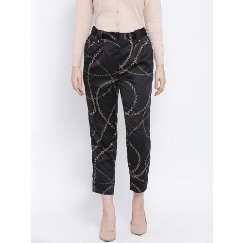 Oxolloxo Women Black & Gold-Toned Regular Fit Printed Regular Trousers