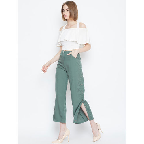 Alsace Lorraine Paris Women Green Regular Fit Solid Cropped Parallel Trousers