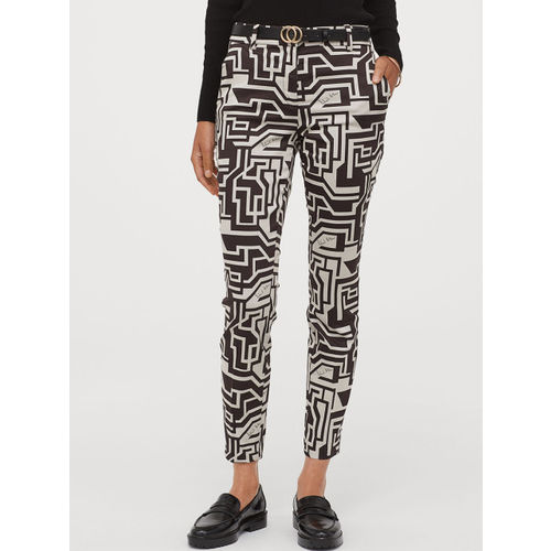 H&M Women Black & White Patterned Cigarette Trousers