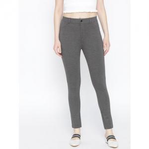 AURELIA Women Charcoal Grey Solid Regular Trousers