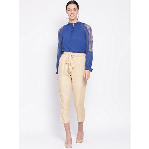 Oxolloxo Women Beige Regular Fit Solid Peg Trousers