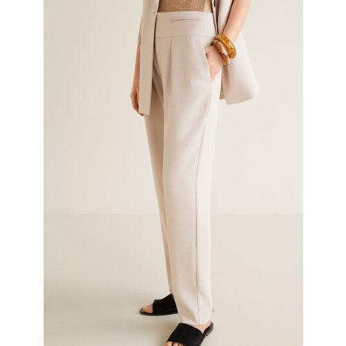 MANGO Women Beige Regular Fit Solid Trousers