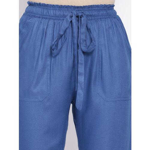 Oxolloxo Women Blue Regular Fit Solid Peg Trousers