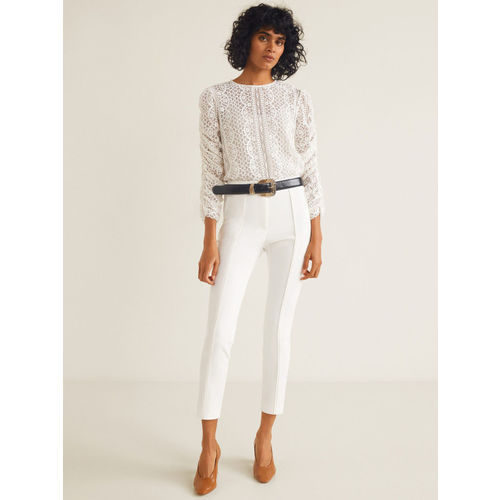 MANGO Women Off-White Skinny Fit Solid Regular Cropped Trousers