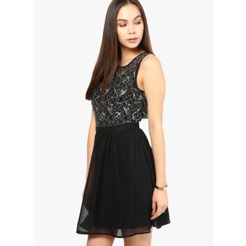 Vero Moda Women's Gathered Black Dress