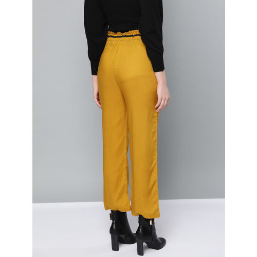 Trend Arrest Women Mustard Yellow Relaxed Straight Leg Loose Fit Solid Regular Trousers