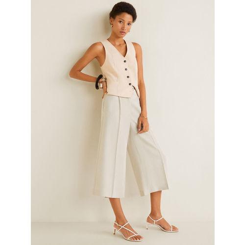 MANGO Women Beige Regular Fit Solid Culottes