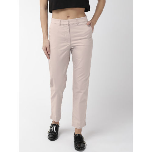 Marks & Spencer Women Beige Regular Fit Solid Trousers