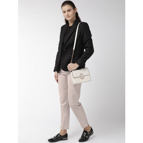 Marks & Spencer Women Beige Regular Fit Solid Trousers