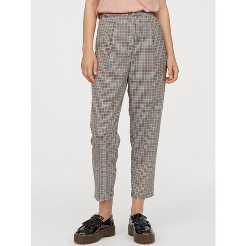H&M Women Beige & Brown Checked Wide Trousers