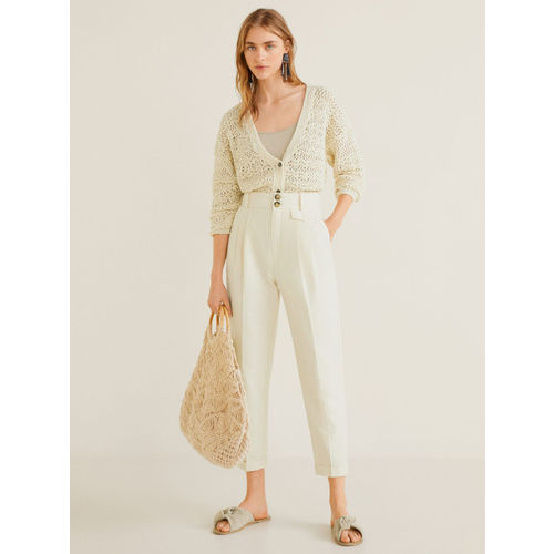 MANGO Women Cream-Coloured Regular Fit Solid Cropped Trousers