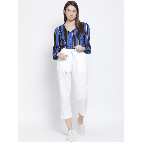 Oxolloxo Women White Regular Fit Solid Regular Trousers