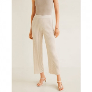 MANGO Women Peach-Coloured Regular Fit Ribbed Cropped Parallel Trousers