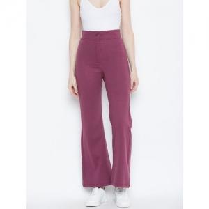 Alsace Lorraine Paris Women Purple Regular Fit Solid Bootcut Trousers