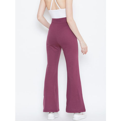 Alsace Lorraine Paris Women Purple Regular Fit Solid Bootcut Trousers