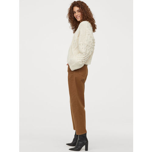 H&M Women Brown Solid Cotton Twill Trousers