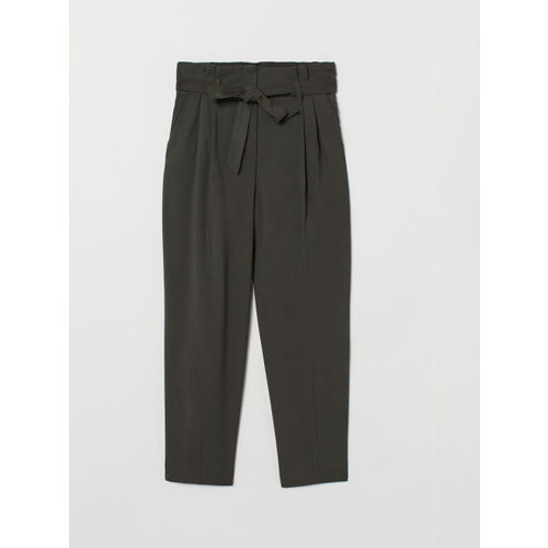 H&M Women Green Solid Ankle-Length Tie-Belt Trousers