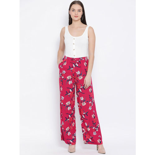 Oxolloxo Women Red & Pink Regular Fit Printed Parallel Trousers
