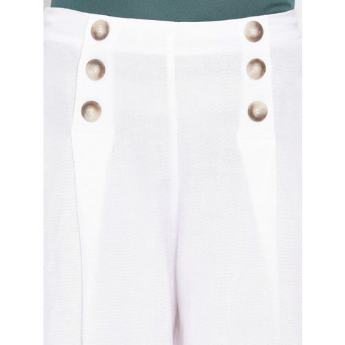 Oxolloxo Women White Regular Fit Solid Culottes