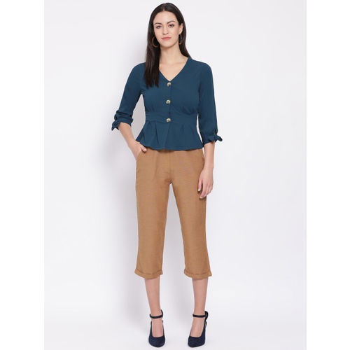Oxolloxo Women Brown Regular Fit Solid Regular Trousers