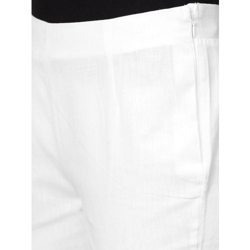 W Women White Regular Fit Solid Regular Cropped Trousers