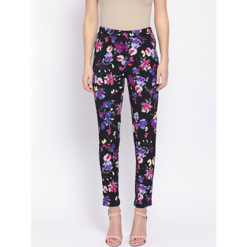 Oxolloxo Women Black & Purple Regular Fit Floral Printed Regular Trousers