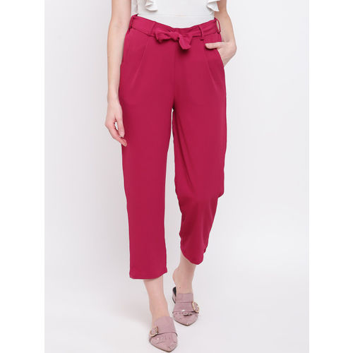 Mayra Women Fuchsia Pink Regular Fit Solid Peg Trousers