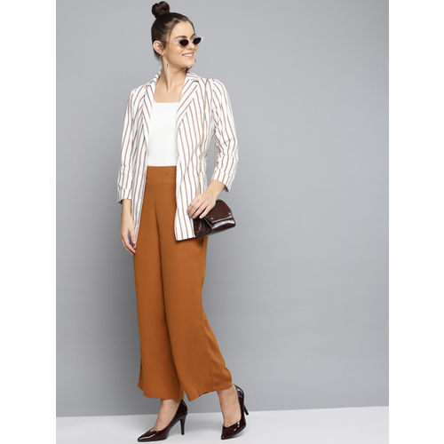 RARE Women Brown Regular Fit Solid Parallel Trousers