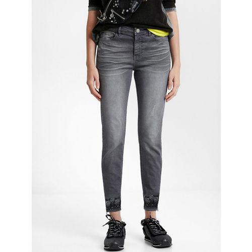 Desigual Women Grey Skinny Fit Printed Regular Trousers