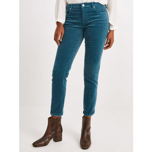 promod Women Teal Blue Regular Fit Solid Corduroy Trousers