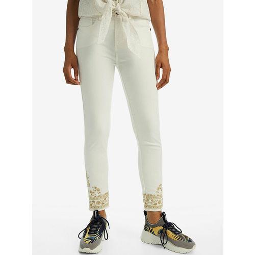 Desigual Women White Skinny Fit Printed Regular Trousers