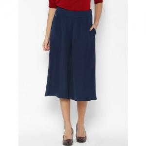 Allen Solly Woman Women Navy Blue Regular Fit Solid Parallel Trousers