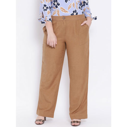 Oxolloxo Women Brown Regular Fit Solid Parallel Trousers