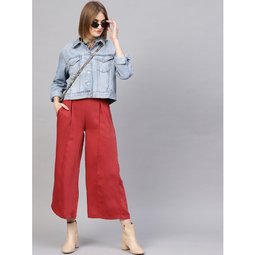SASSAFRAS Women Red Regular Fit Solid Parallel Trousers