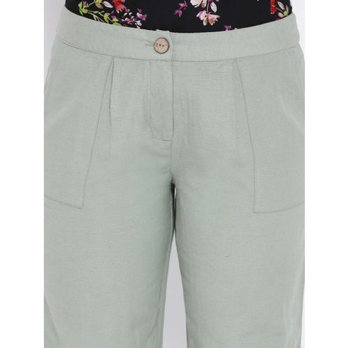 Oxolloxo Women Green Regular Fit Solid Parallel Trousers