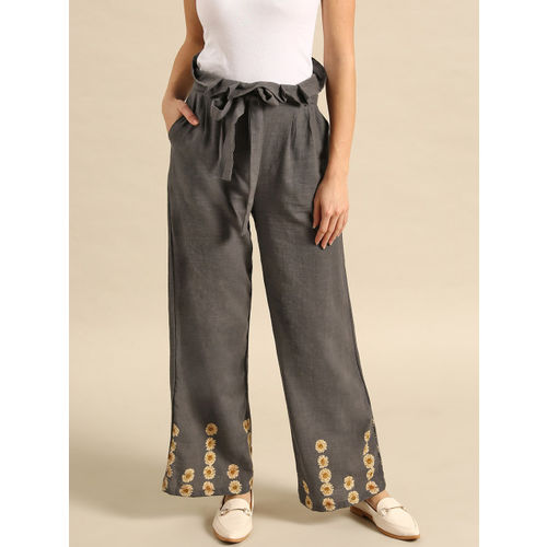 AKS Couture Women Charcoal Grey & Beige Regular Fit Printed Detail Parallel Trousers