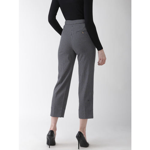 Marks & Spencer Women Navy Blue & Beige Straight Fit Checked Cropped Formal Trousers