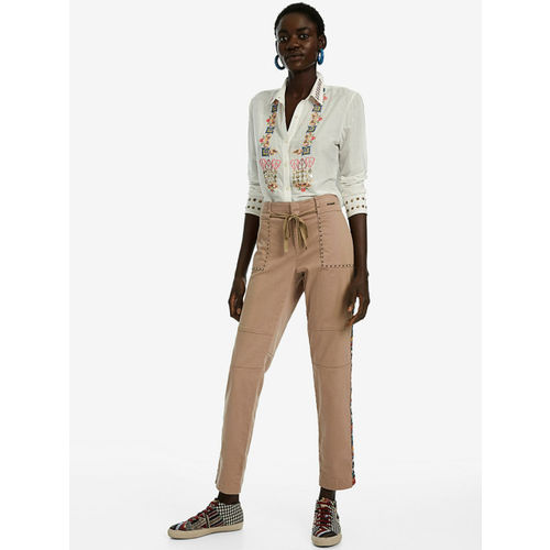 Desigual Women Brown Straight Fit Solid Regular Trousers