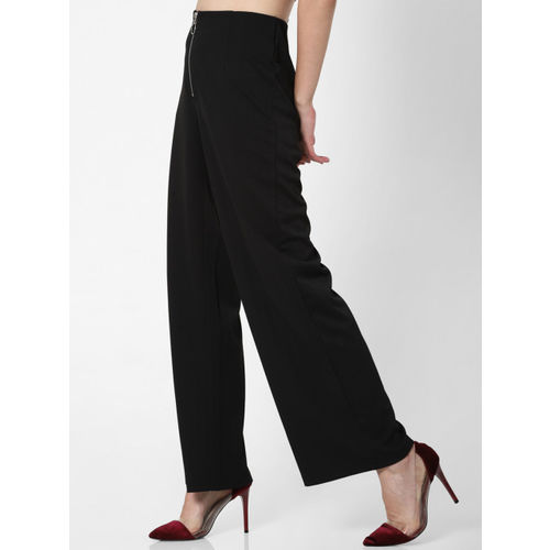 ONLY Women Black Loose Fit Solid Parallel Trousers