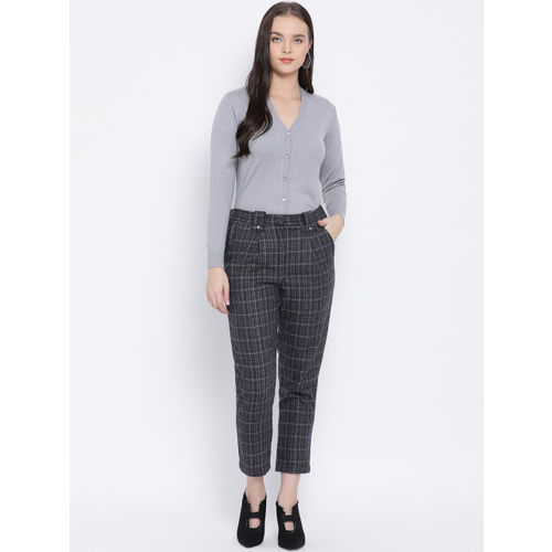Oxolloxo Women Grey Regular Fit Checked Formal Trousers
