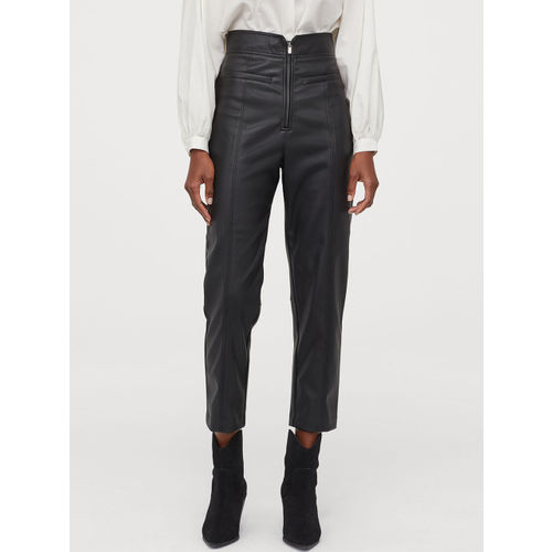 H&M Women Black Solid Imitation Leather Trousers