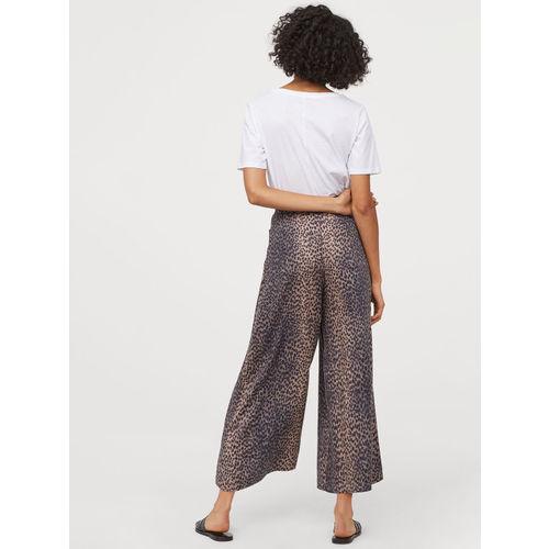 H&M Women Beige & Black Tie-Belt Culottes