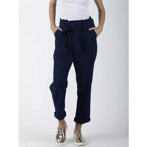 Blue Saint Women Blue Regular Fit Solid Crop Peg Trousers